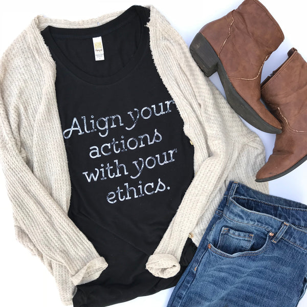 align your actions with your ethics vegan eco-friendly tank