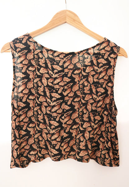 upcycled vegan crop top in a leaf print