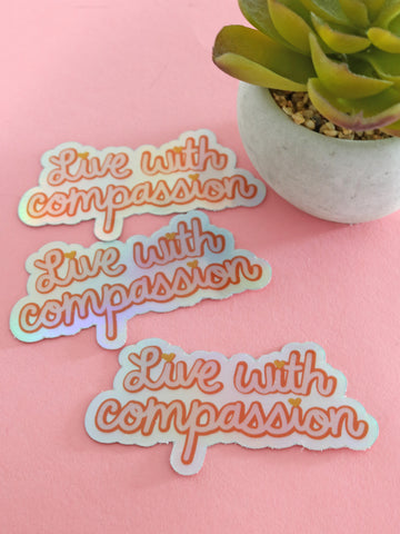 live with compassion vegan sticker threads for love