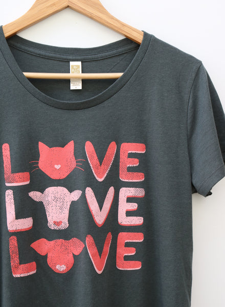 women's vegan love bamboo and organic cotton tee