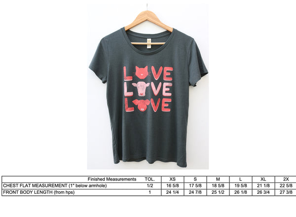 women's vegan love bamboo and organic cotton tee measurements