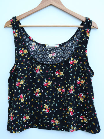 floral upcycled crop top deadstock fabric