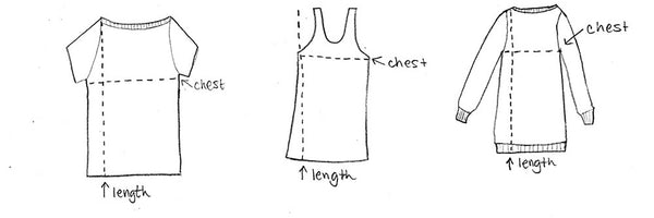 vegan upcycled t shirt measurement guide