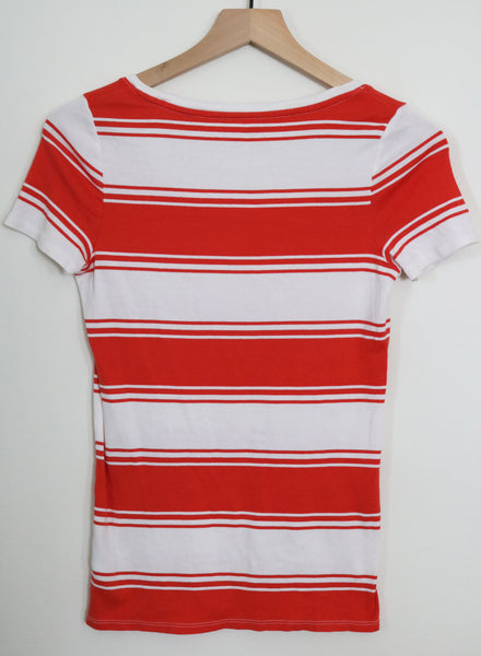 Red and White Upcycled vegan tee