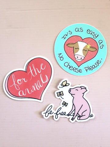cute vegan sticker set threads for love