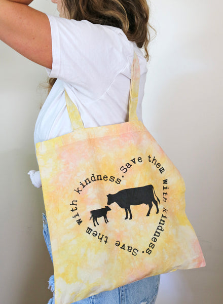 vegan tie dye tote bag threads for love