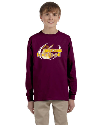 MHS Football G240 Gildan Youth Ultra Cotton® 6 oz. Long-Sleeve Maroon T-Shirt