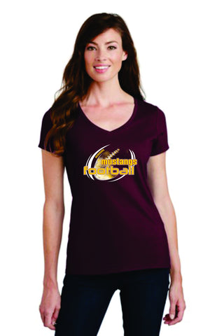 MHS Football Port & Company® Ladies Fan Favorite Maroon V-Neck Tee. LPC450V