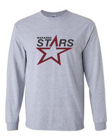 Wakanda Stars Gildan Long Sleeve Adult Sports Grey