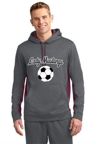 MHS Soccer Dark Smoke/Maroon ST235 Sport-Tek® Sport-Wick® Fleece Colorblock Hooded Pullover