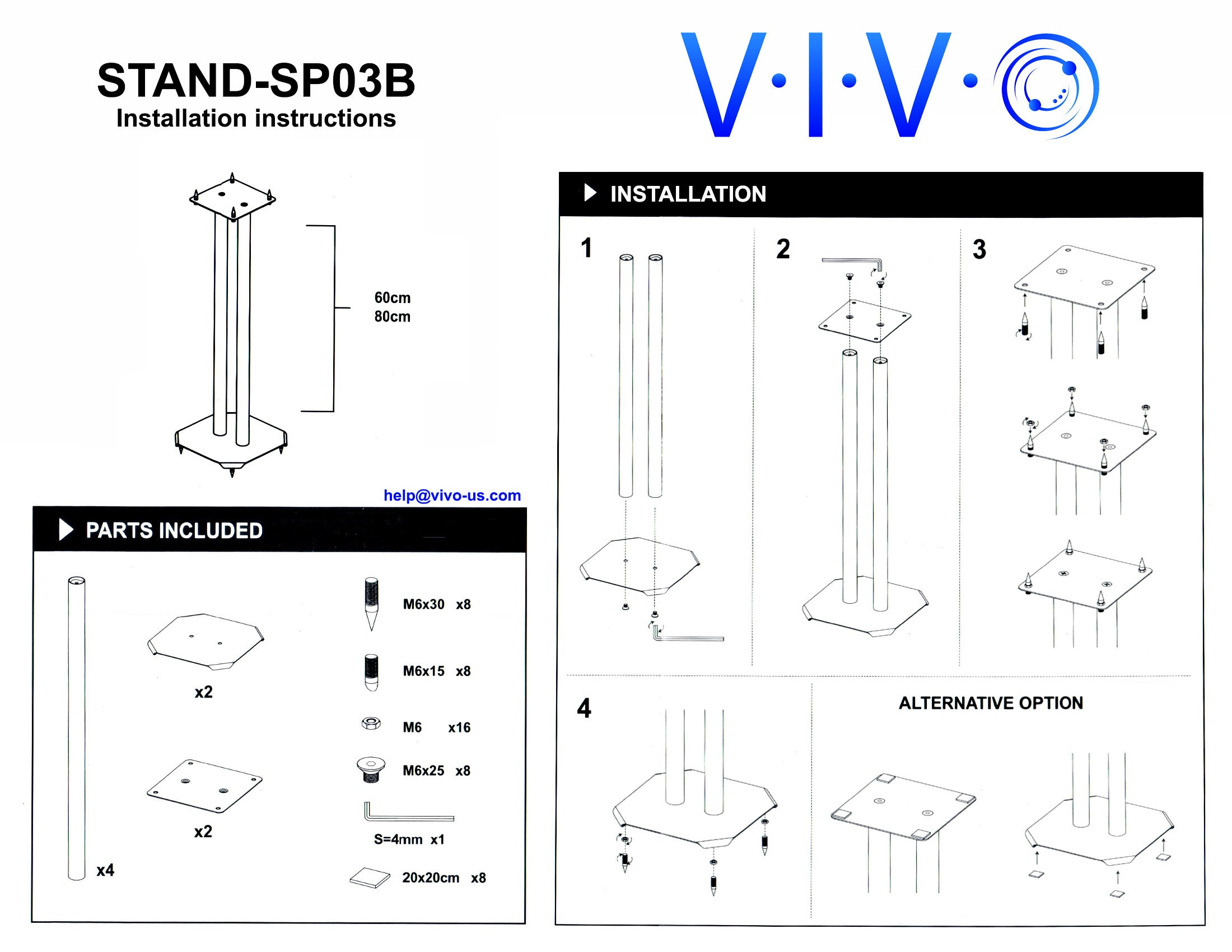 Stand Sp03b Vivo Premium Universal Floor Speaker Stands