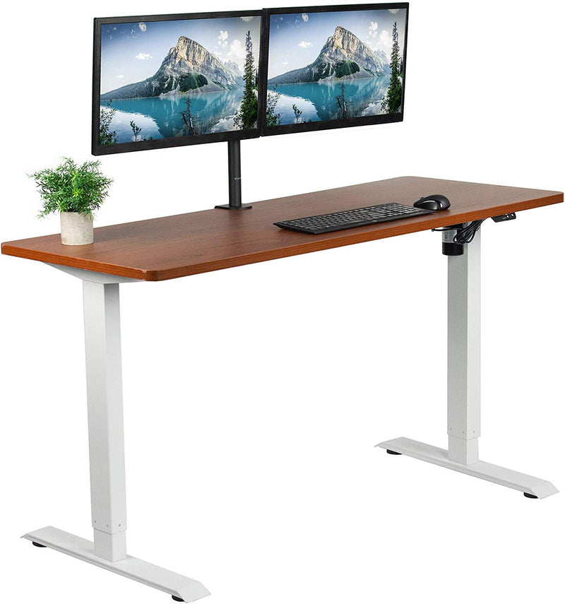 "DESK-KIT-W06D<br><br>Dark Walnut / White 60"" x 24"" Electric Desk"
