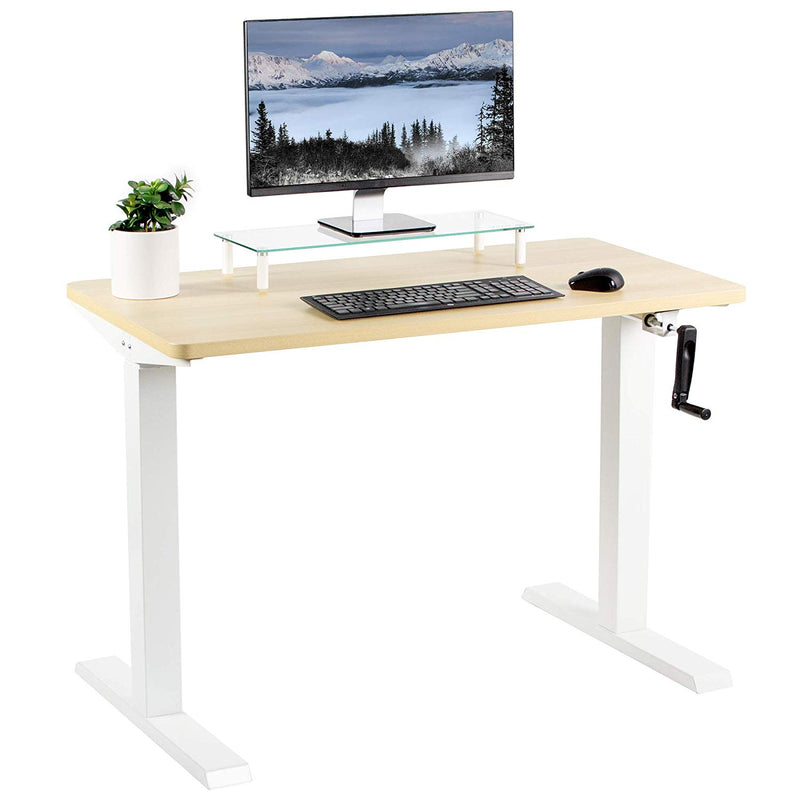 "Light Wood / White 43"" x 24"" Manual Height Adjustable Desk"