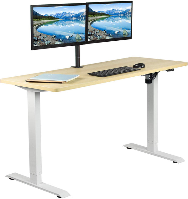 "DESK-KIT-W06C<br><br>Light Wood / White 60"" x 24"" Electric Desk"
