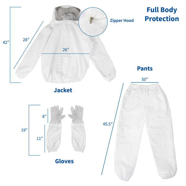 BEE-KIT-53L <br><br>Large Bee Jacket, Pants, and Gloves Set