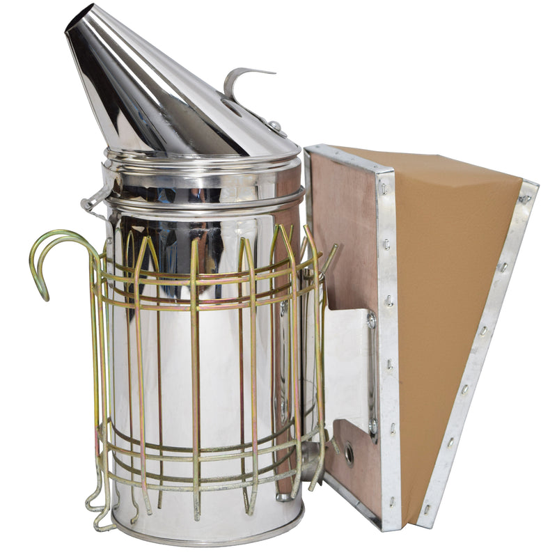 BEE-V001 <br><br>Stainless Steel Beehive Smoker with Heat Shield
