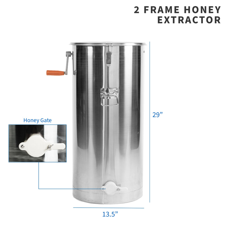 height and width specifications of manual crank honey extractor