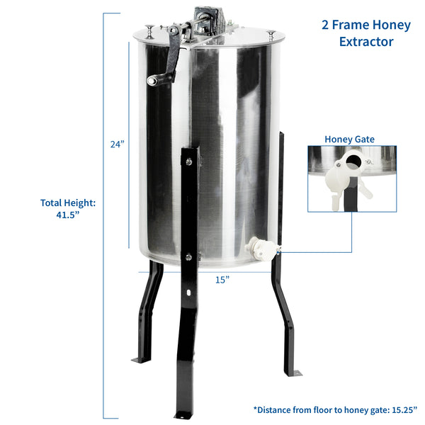Two Frame Stainless Steel Honey Extractor
