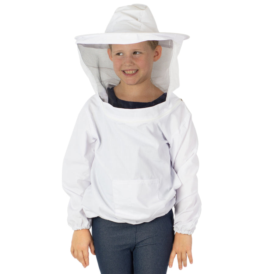 BEE-V105Y <br><br>White Beekeeping Youth Sized Bee Keeping Suit, Jacket, Pull Over, Smock with Veil