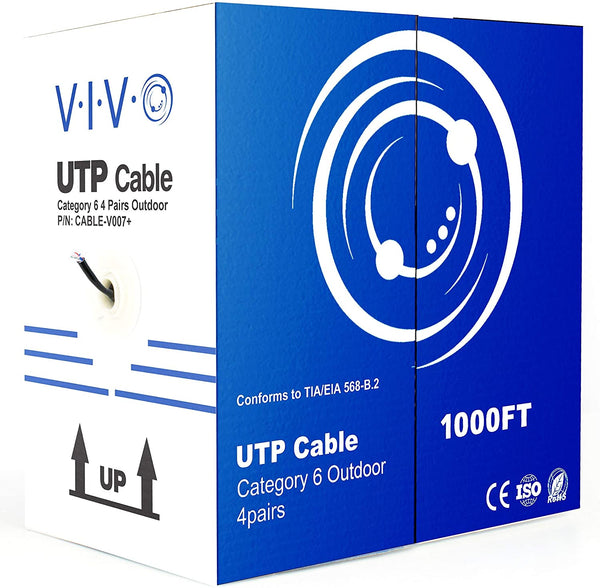 CABLE-V007 <br><br>Black 1,000ft Cat6 Outdoor Ethernet Cable