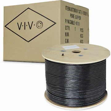 CABLE-V010 <br><br>Black 1,000ft Cat6 Outdoor (PURE COPPER) Ethernet Cable 23 AWG