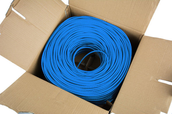 CABLE-V016 <br><br><span style=font-weight:normal;>Blue 250ft Bulk Cat6 Full Copper Indoor LAN Ethernet Cable Wire | UTP Pull Box 250 ft Cat-6 Copper</span>