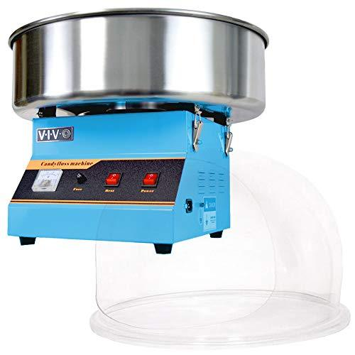 Blue Electric Commercial Cotton Candy Machine with Bubble Shield