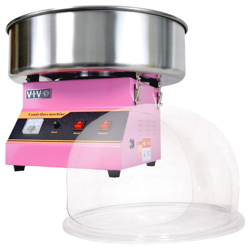 Pink Electric Commercial Cotton Candy Machine with Bubble Shield