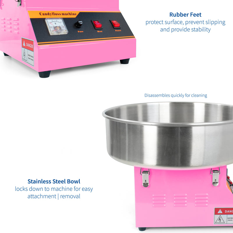CANDY-KIT-1 <br><br>Pink Electric Commercial Cotton Candy Machine with Bubble Shield