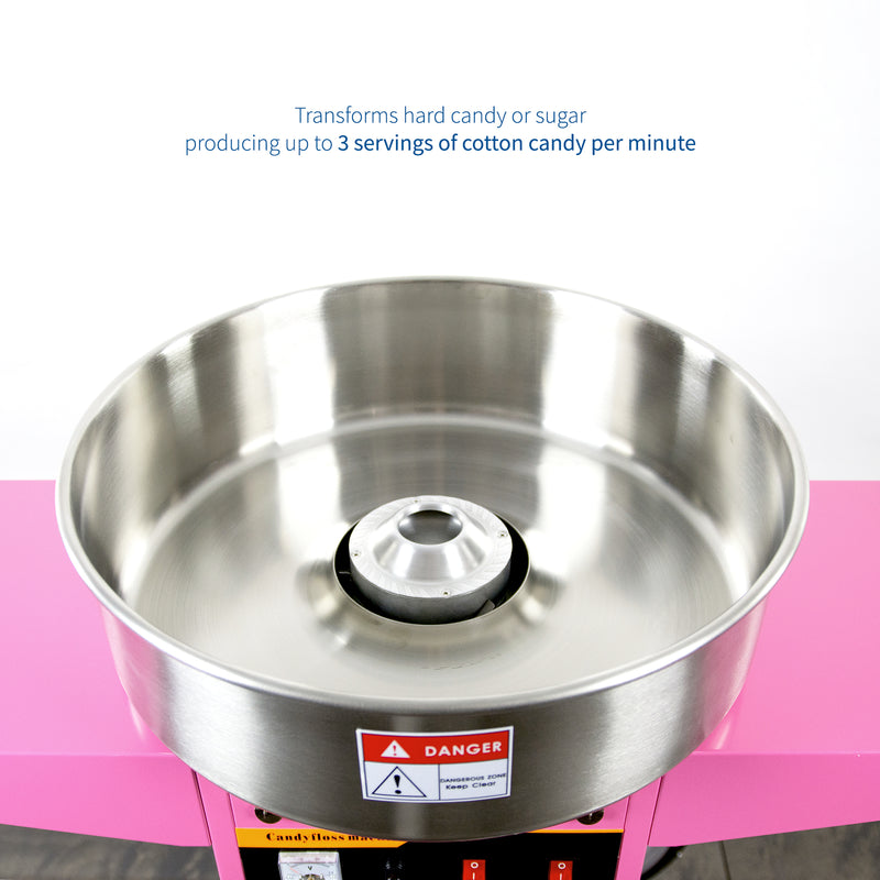 CANDY-KIT-2<br><br>Pink Electric Commercial Cotton Candy Machine with Cart and Bubble Shield