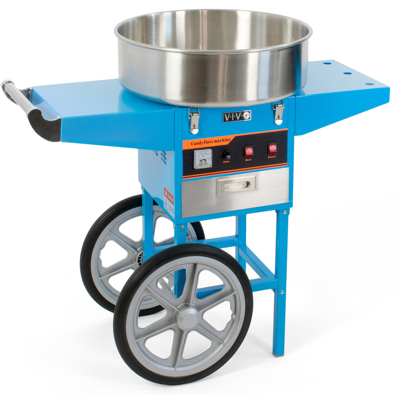 Blue Electric Commercial Cotton Candy Machine with Cart