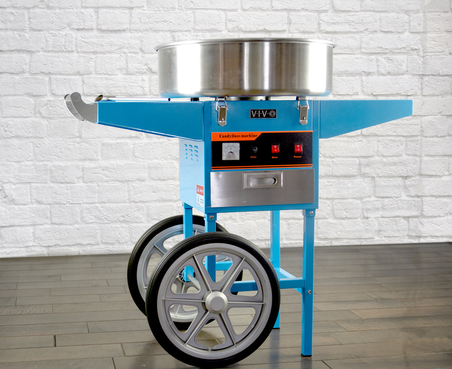 CANDY-V002B <br><br>Blue Electric Commercial Cotton Candy Machine Cart