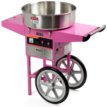 CANDY-V002 <br><br>Pink Electric Commercial Cotton Candy Machine with Cart