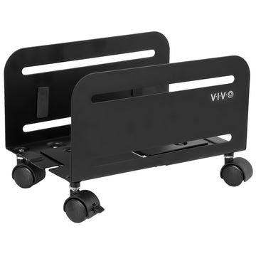 Black Computer Desktop ATX Case CPU Steel Rolling Stand Adjustable Mobile Cart