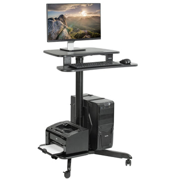 "CART-PC02HB <br><br>Black 24"" Mobile Computer Workstation"