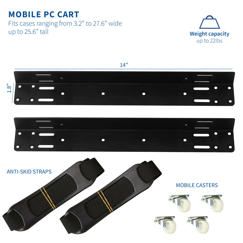 Black Adjustable Strap CPU Cart