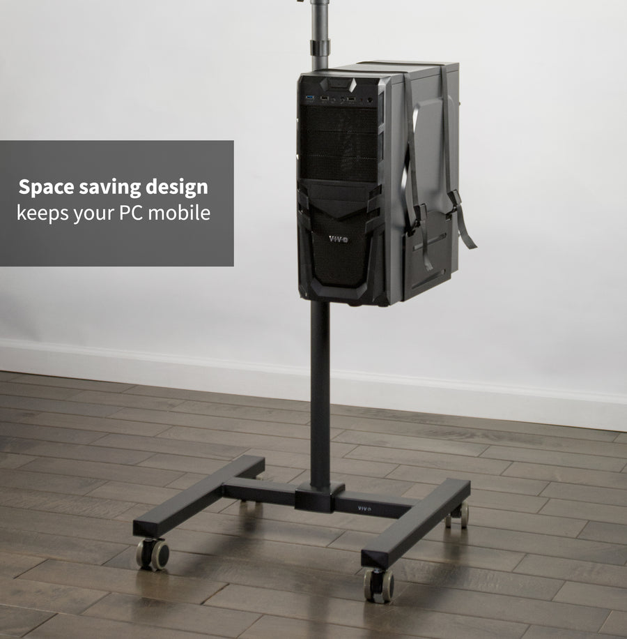 CART-PC02T<br><br>Black Adjustable Computer Mobile Cart
