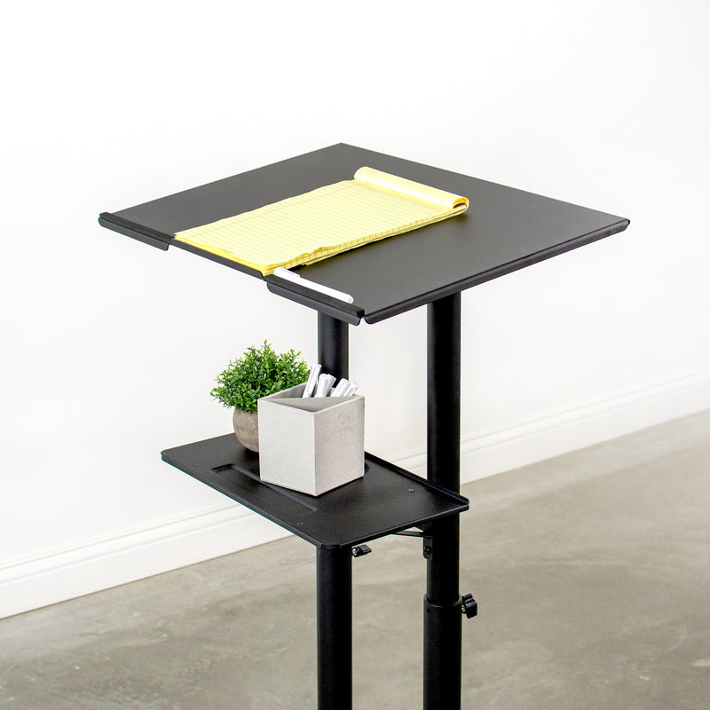 "CART-V03E <br><br>Black 24"" Multi-Purpose Mobile Podium"