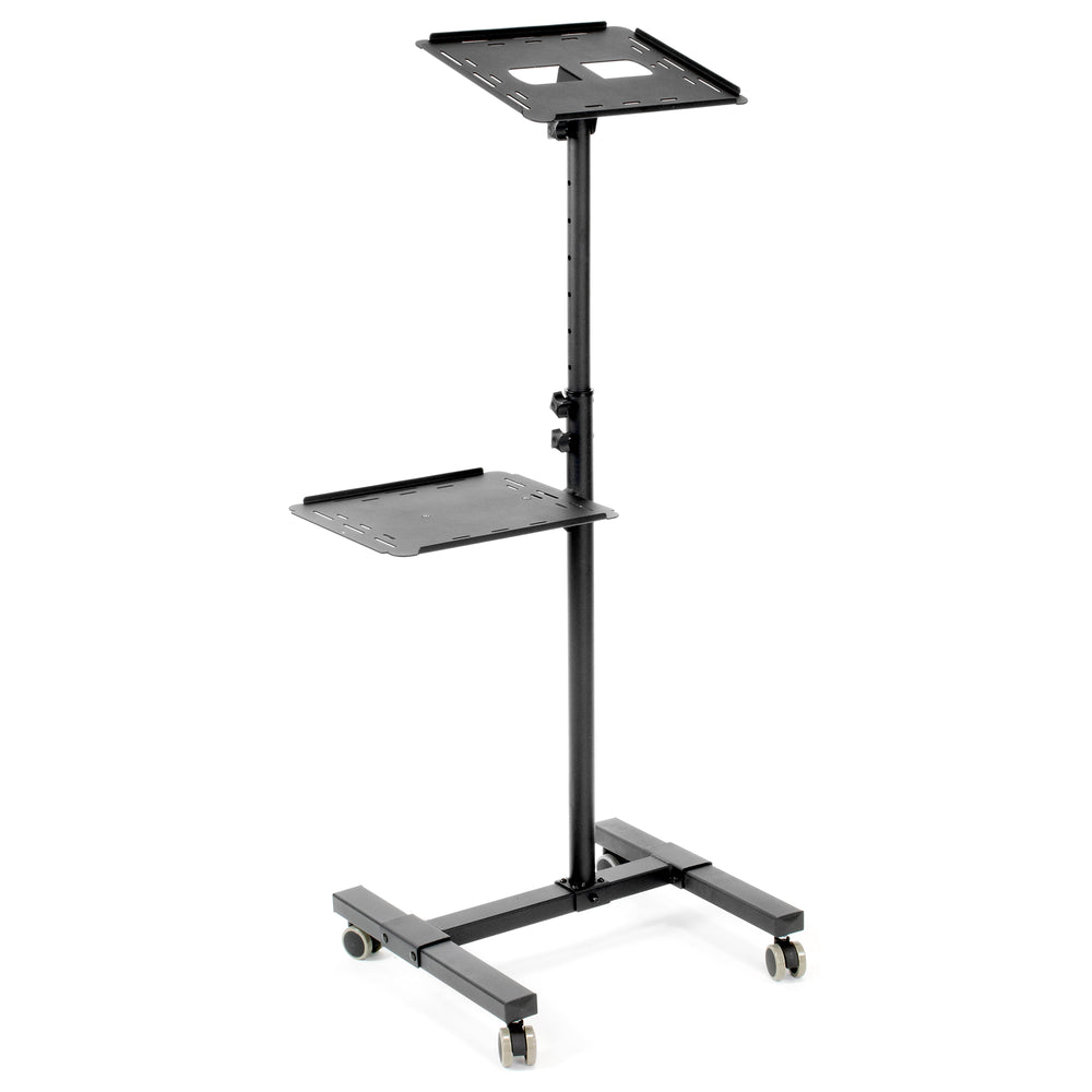 CART-V04C <br><br><span style=font-weight:normal;>Black Mobile Rolling Projector Stand | Height Adjustable Projector & Laptop Trolley Presentation Cart </span>