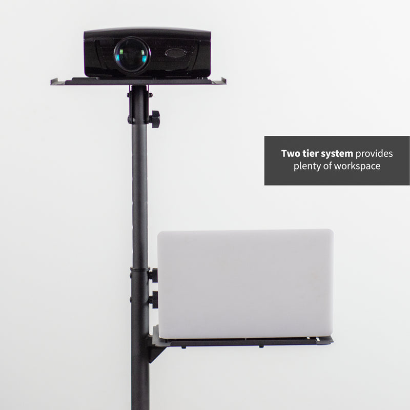 "CART-V04C <br><br>Black 14"" Mobile Projector and Laptop Cart"
