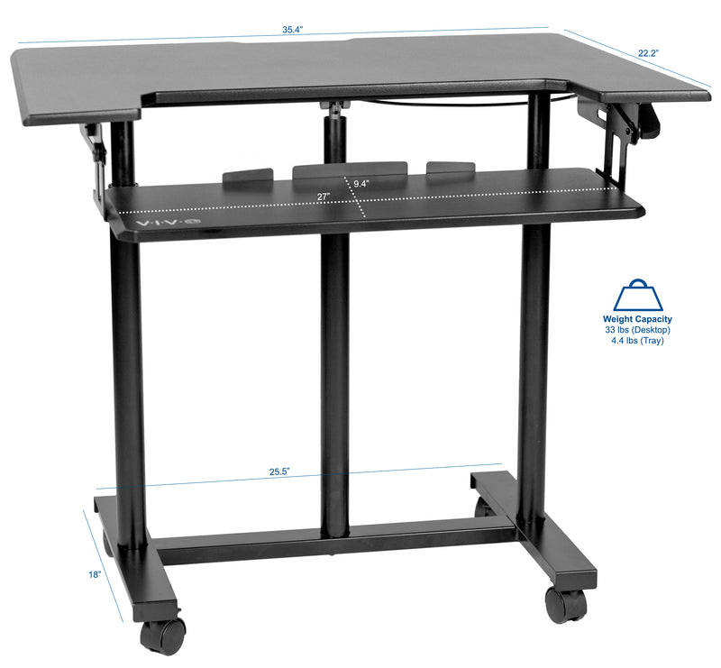 "CART-V06A<br><br>Black 35"" Mobile Computer Workstation"