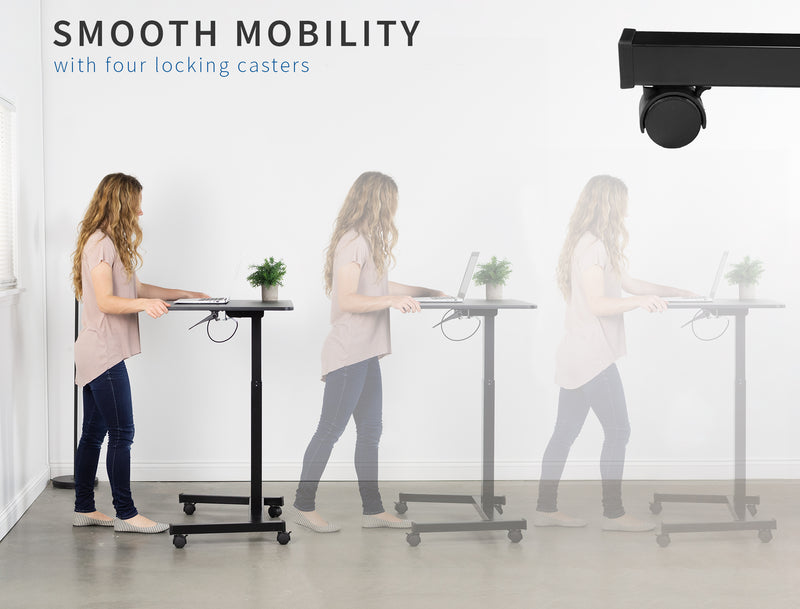 "Black 32"" Mobile Presentation Cart smooth mobility"