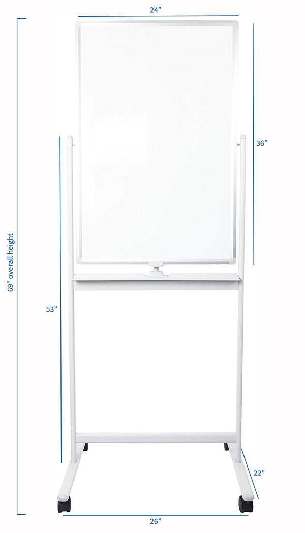 "CART-WB24A <br><br>24"" x 36"" Mobile Double Sided Whiteboard"