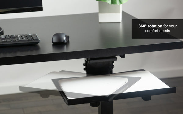 DESK-AC02A<br><br><span style=font-weight:normal;> Black Sliding Tray Track Adjustable Platform Mounted Under Desk | Laptop Notebook Holder for Office Desk</span>