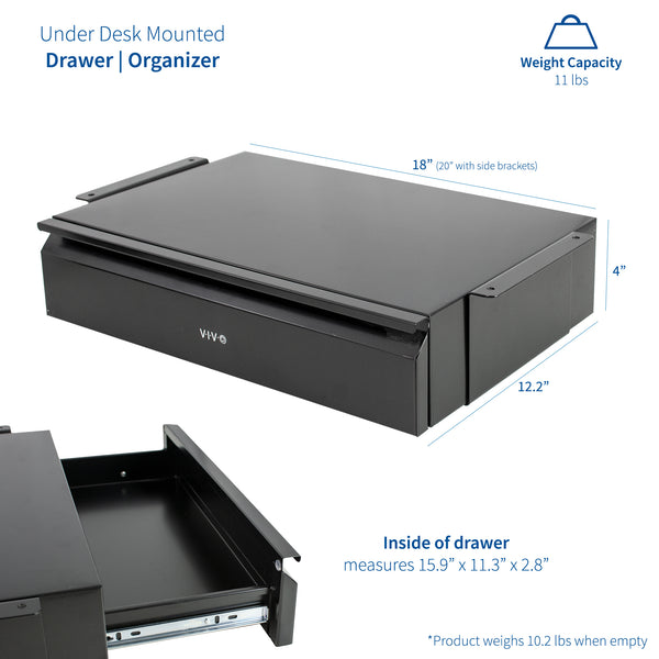 "DESK-AC03B <br><br>Pull Out 18"" Under Desk Drawer"