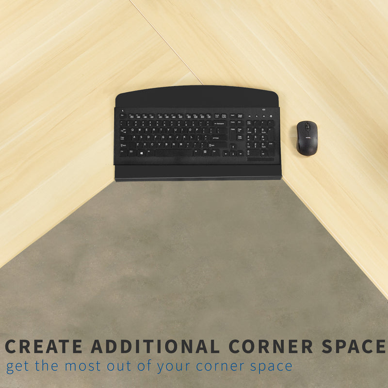 Desk Corner Connector and keyboard