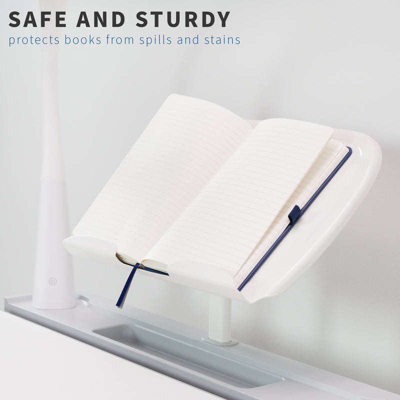 safe and sturdy White Book Holder for Kids' Height Adjustable Desk