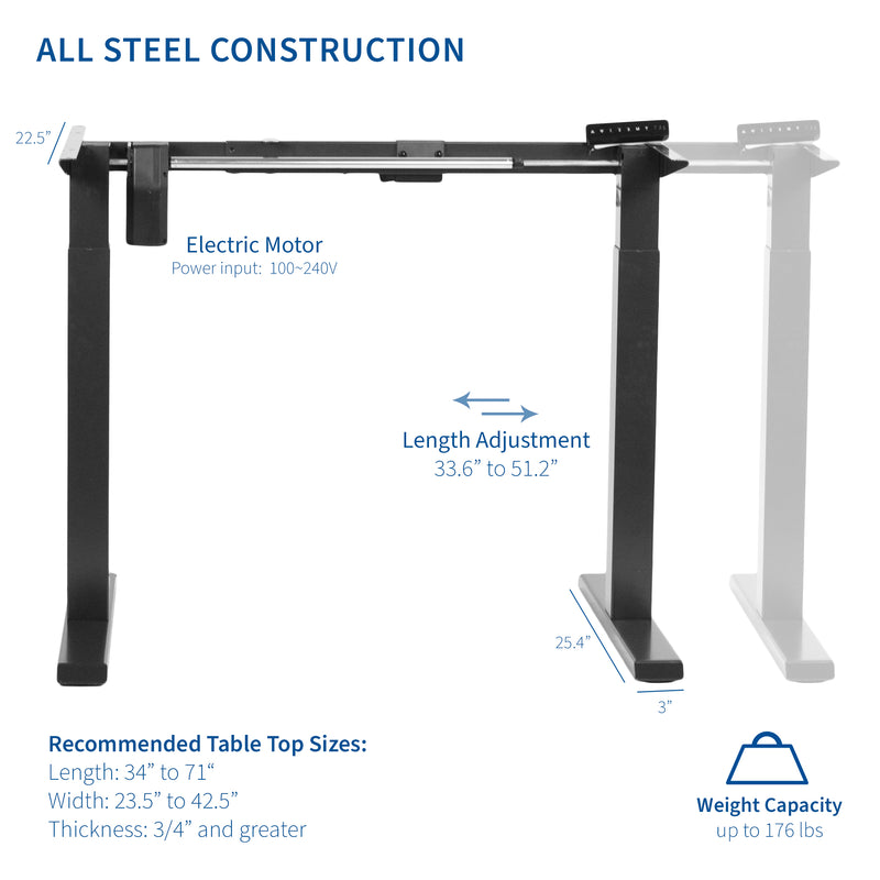 DESK-E151EB <br><br>Black Compact Electric Single Motor Desk Frame