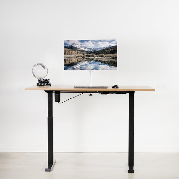 Black Compact height adjustable desk with monitor
