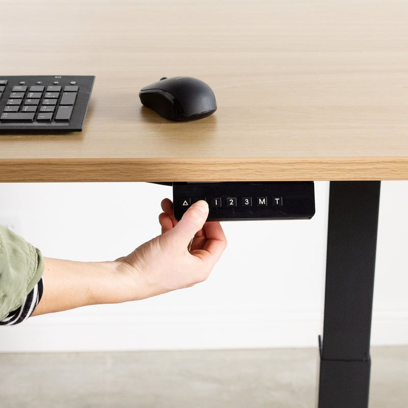 Black Compact height adjustable desk with touch pad